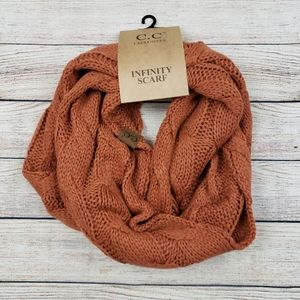 Solid cable knit C.C infinity scarf